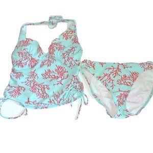 Victoria's Secret Tankini Set S 34B Blue Coral Ree